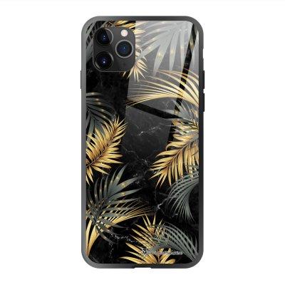 Coque en verre trempé iPhone 11 Pro Max Marbre noir et fougères Ecriture Tendance et Design La Coque Francaise