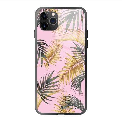 Coque en verre trempé iPhone 11 Pro Max Marbre rose et fougères Ecriture Tendance et Design La Coque Francaise