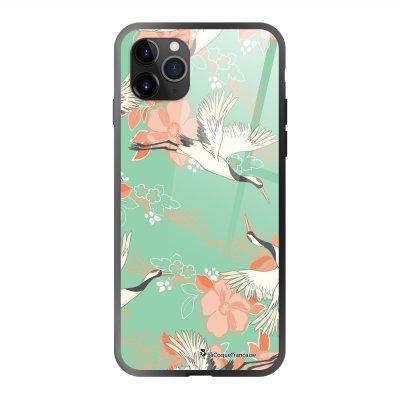 Coque en verre trempé iPhone 11 Pro Max Grues fleuries Ecriture Tendance et Design La Coque Francaise