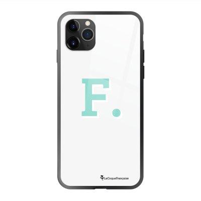 Coque en verre trempé iPhone 11 Pro Max Initiale F Ecriture Tendance et Design La Coque Francaise