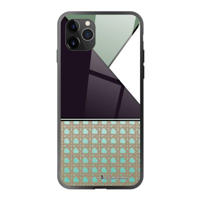 Coque en verre trempé iPhone 11 Pro Max Triangles bleus et violet Ecriture Tendance et Design La Coque Francaise