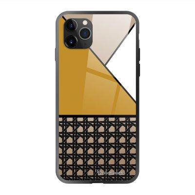 Coque en verre trempé iPhone 11 Pro Max Triangles moutarde Ecriture Tendance et Design La Coque Francaise
