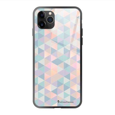 Coque en verre trempé iPhone 11 Pro Max Triangles multicolors Ecriture Tendance et Design La Coque Francaise
