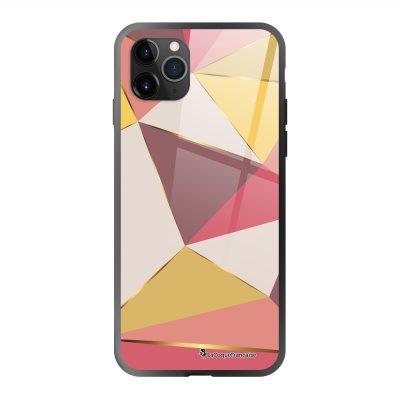Coque en verre trempé iPhone 11 Pro Max Triangles roses Ecriture Tendance et Design La Coque Francaise