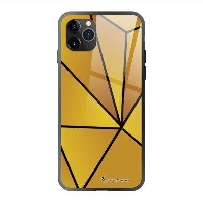 Coque en verre trempé iPhone 11 Pro Max Jaune géométrique Ecriture Tendance et Design La Coque Francaise