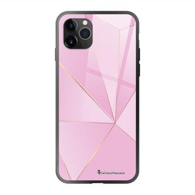 Coque en verre trempé iPhone 11 Pro Max Rose géométrique Ecriture Tendance et Design La Coque Francaise