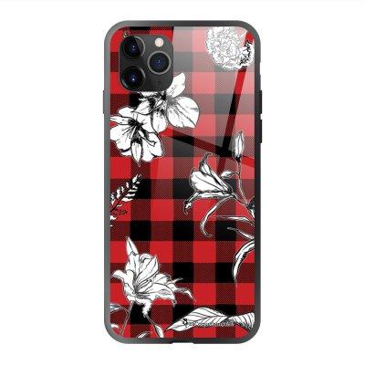 Coque en verre trempé iPhone 11 Pro Max Tartan rouge et noir Ecriture Tendance et Design La Coque Francaise