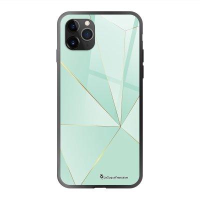 Coque en verre trempé iPhone 11 Pro Max Vert géométrique Ecriture Tendance et Design La Coque Francaise