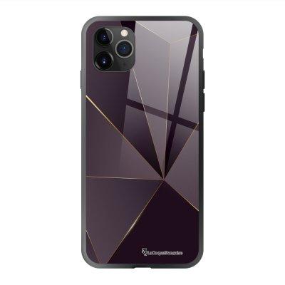 Coque en verre trempé iPhone 11 Pro Max Violet géométrique Ecriture Tendance et Design La Coque Francaise