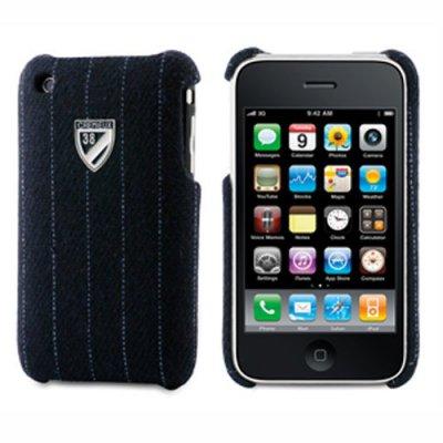 Coque arriere Cremieux tissus Derby bleu film protection ecran inclus iPhone 3G/3GS