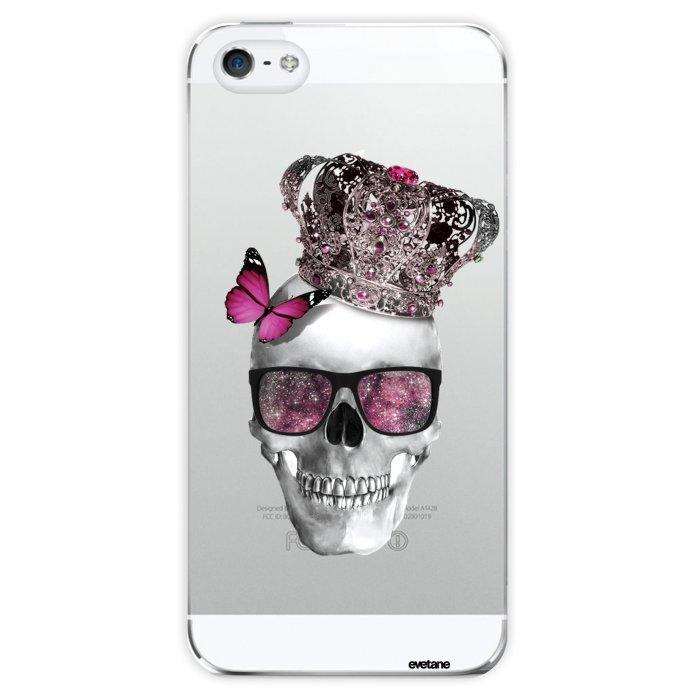 coque transparente tete de mort couronne pour apple iphone 5 5s