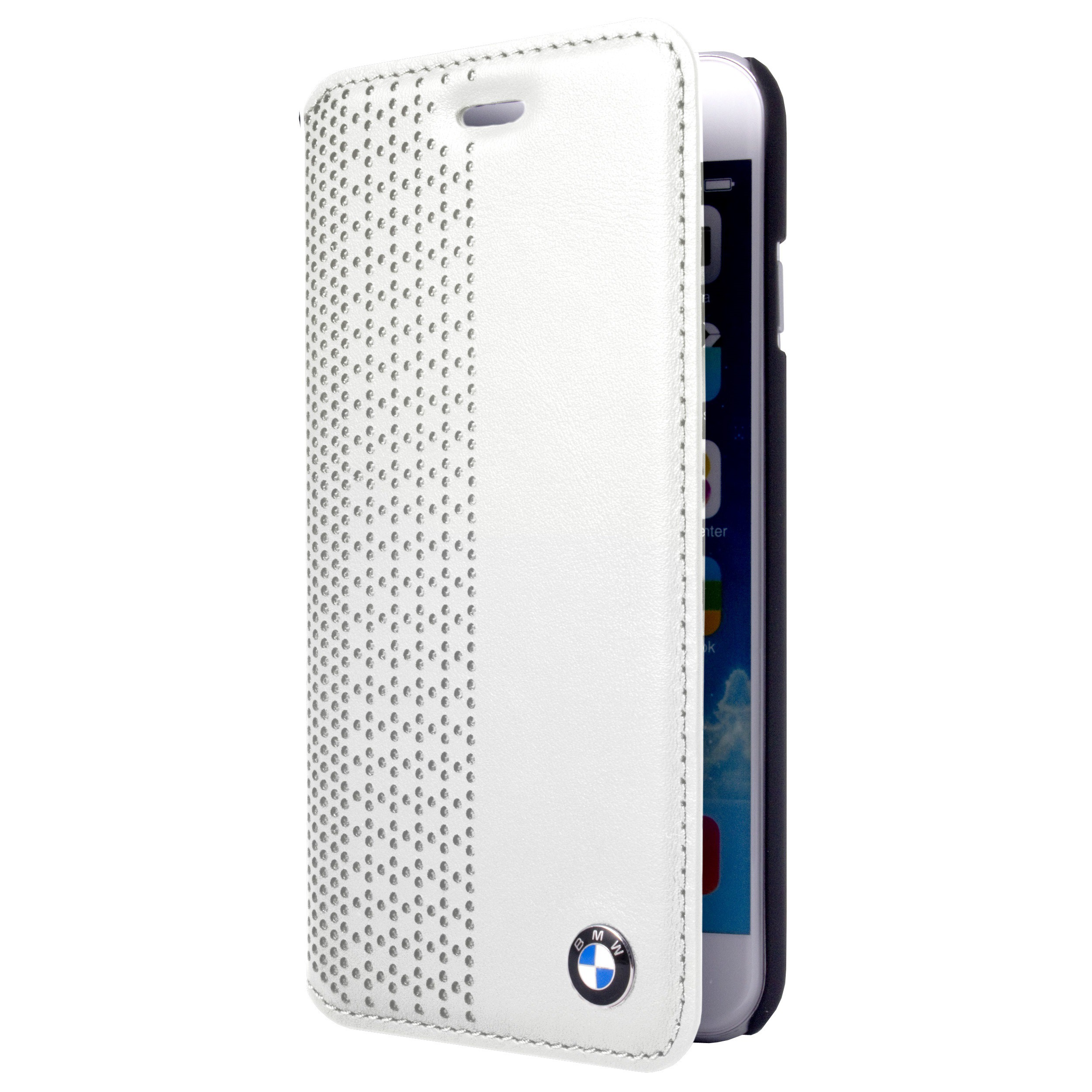 bmw perforated genuine leather white booktype case for apple iphone 5 5s