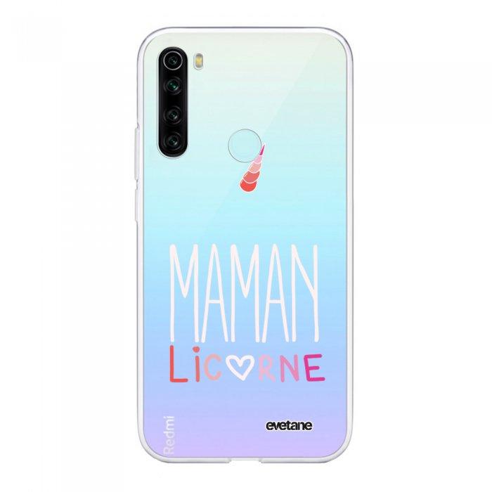 Coque Xiaomi Redmi Note 8 T souple transparente Maman licorne Motif Ecriture Tendance Evetane