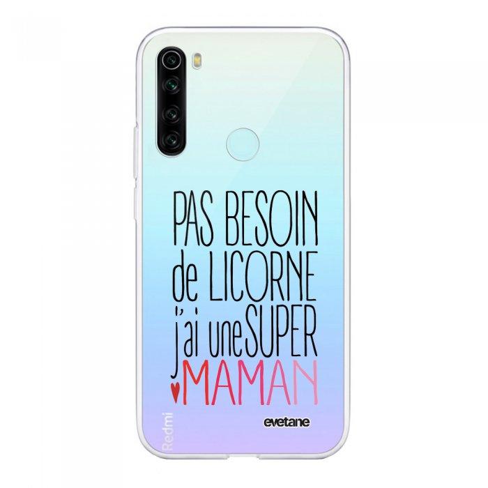 Coque Xiaomi Redmi Note 8 T souple transparente Licorne super maman Motif Ecriture Tendance Evetane
