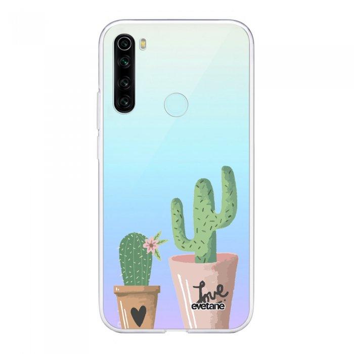 Coque Xiaomi Redmi Note 8 T souple transparente Cactus Love Motif Ecriture Tendance Evetane.