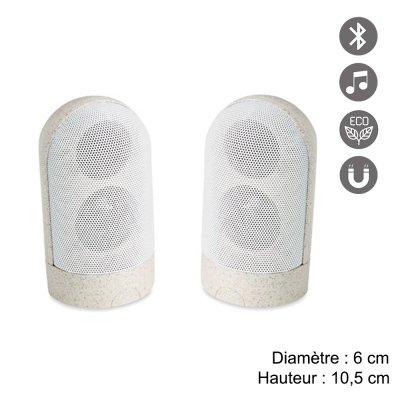 Double Enceinte Bluetooth  5.0 magnétiques en paille de blé 30% et ABS 70%