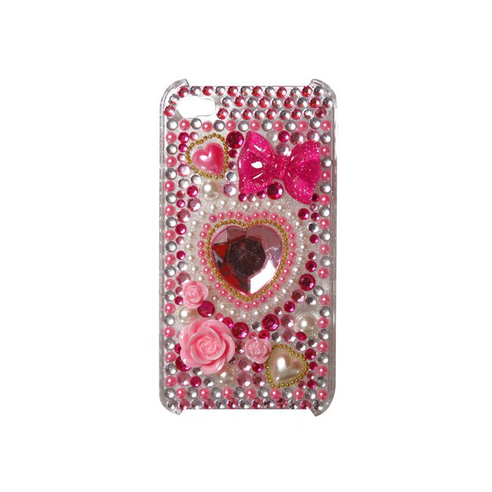 coque iphone 4 relief coeur dore ornee strass perles fleurs