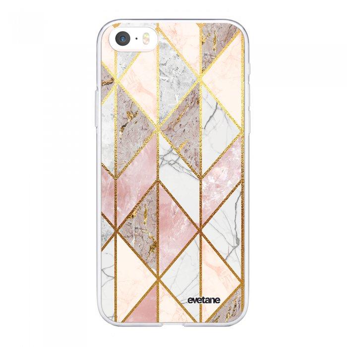 coque iphone 5 5s se souple transparente marbre rose losange motif ecriture tendance evetane