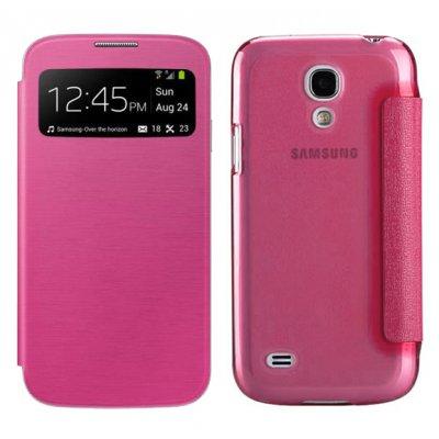 Etui livre avec fenêtre rose fushia dos transparent pour Samsung Galaxy S4 mini