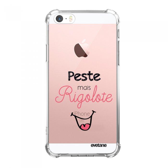 coque iphone 5 5s se anti choc souple avec angles renforces transparente peste mais rigolote tendance evetane
