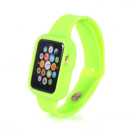 Bracelet bumper silicone vert pour Apple Watch 38mm