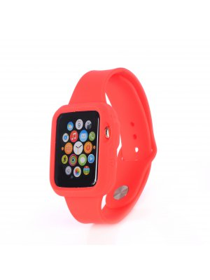 Bracelet bumper silicone rouge pour Apple Watch 42mm