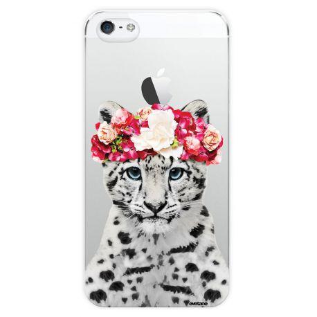 coque transparente leopard couronne de fleurs pour apple iphone 5 5s