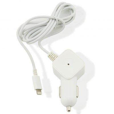 Chargeur voiture muvit compatible avec Apple Lightning MFI 2.4A 1.2m blanc