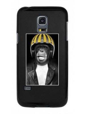 Moxie coque rigide noire singe casque jaune pour Samsung Galaxy S5 mini