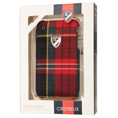 Coque arriere Cremieux tissus ecossais film protection ecran inclus IPhone 3g 3gs