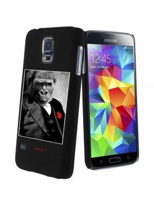 Moxie coque rigide noire gorille fleur rouge pour Samsung Galaxy S5 mini