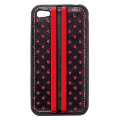 Coque bi matieres noire et rouge avec etoiles micro perforées et motifs racing pour iPhone 4
