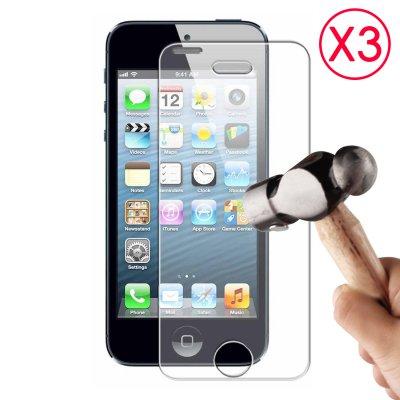 Lot de 3 Vitres de protection anti-chocs en verre trempé pour iPhone 5/5S/5C