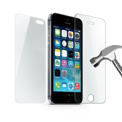 Vitre de protection anti-chocs AVANT/ ARRIERE en verre trempé pour iPhone 5/ 5S