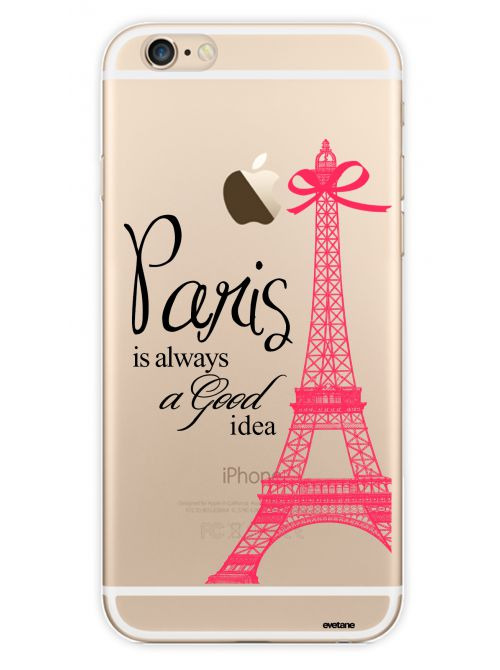 coque de protection paris transparente et rose apple iphone 6 6s