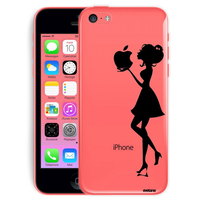 coque transparente souple silhouette femme pour iphone 5c