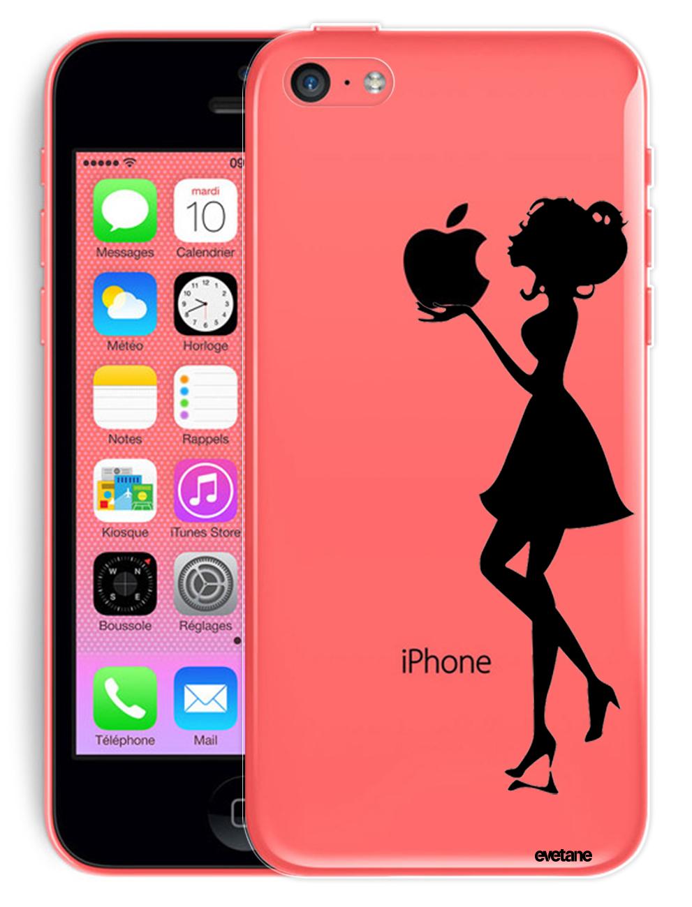 coque transparente rigide silhouette femme pour apple iphone 5c