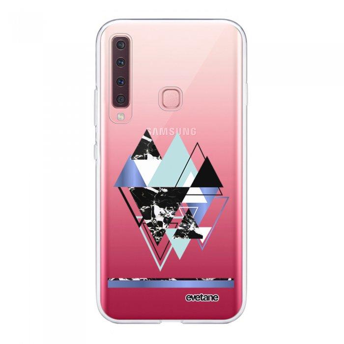 Coque Samsung Galaxy A9 2018 360 intégrale transparente Triangles Bleus Ecriture Tendance Design Evetane