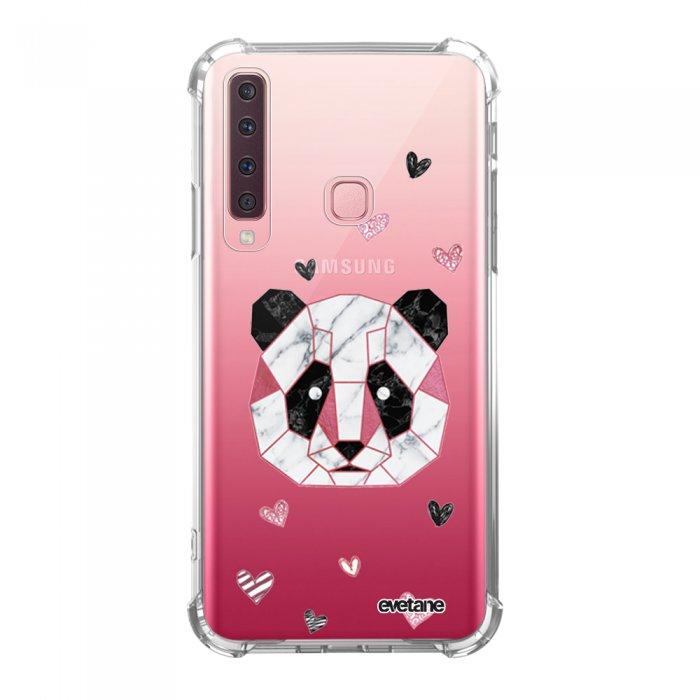 Coque Samsung Galaxy A9 2018 anti-choc souple avec angles renforcés transparente Panda Géométrique Rose Tendance Evetane...