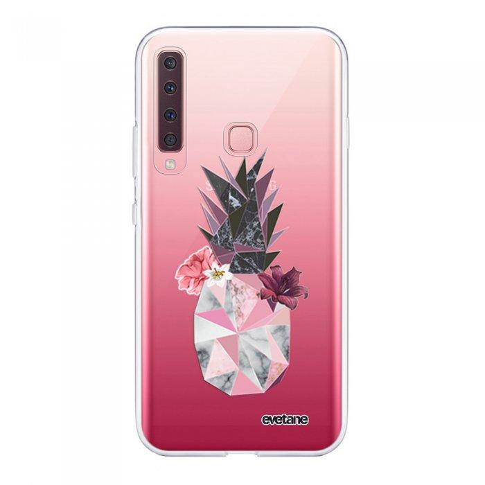 Coque Samsung Galaxy A9 2018 souple transparente Ananas Fleuri Motif Ecriture Tendance Evetane