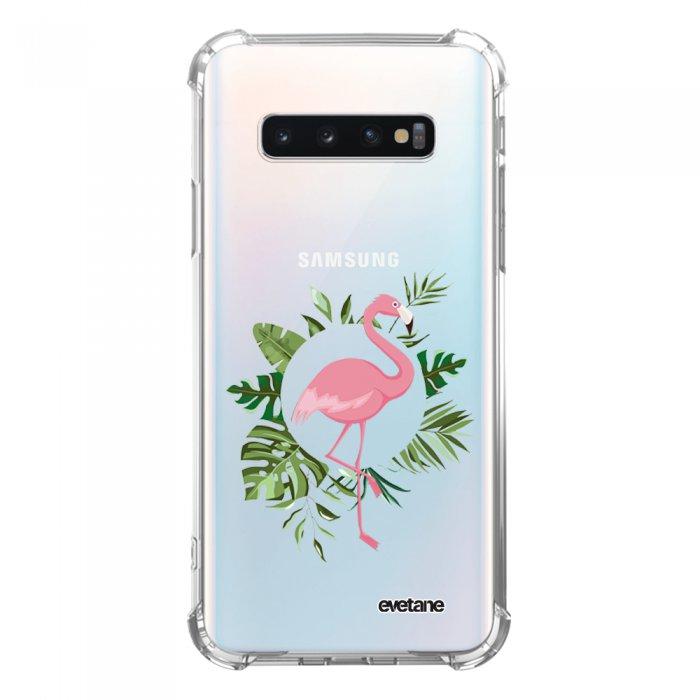 Coque Samsung Galaxy S10 anti-choc souple avec angles renforcés transparente Flamant Rose Cercle Tendance Evetane...