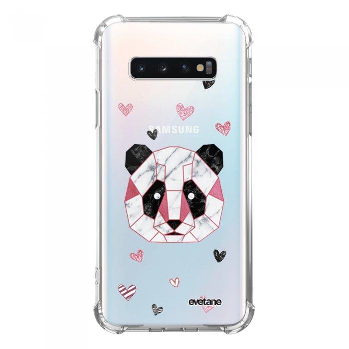 Coque Samsung Galaxy S10 anti-choc souple avec angles renforcés transparente Panda Géométrique Rose Tendance Evetane...