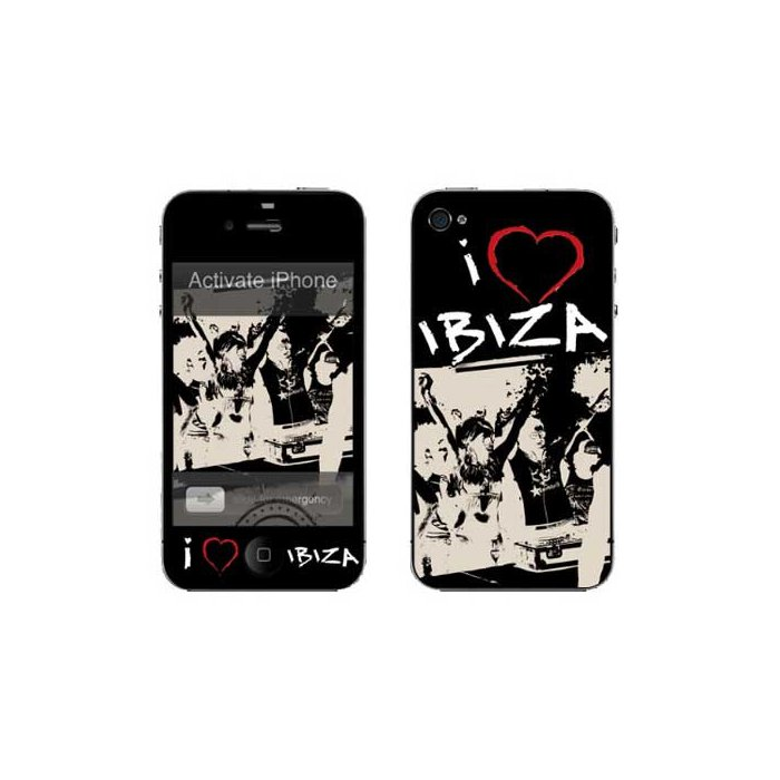 Stickers autocollants Muvit I Love Ibiza pour iPhone 4