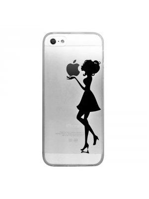 Coque transparente silhouette noire femme pour iPhone 5 / 5S