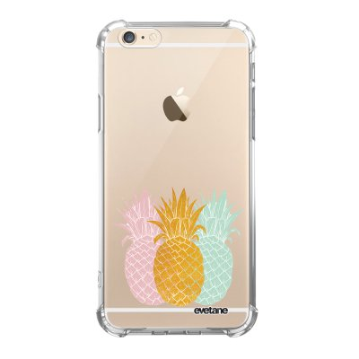 Coque iPhone 6/6S anti-choc souple angles renforcés transparente Ananas trio Evetane.