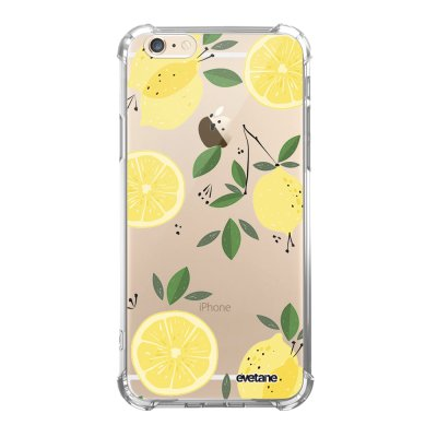 Coque iPhone 6/6S anti-choc souple angles renforcés transparente Citrons Evetane.