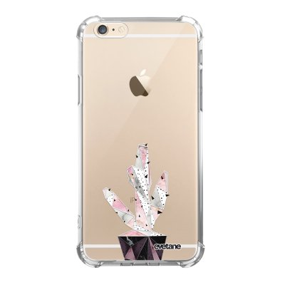 Coque iPhone 6/6S anti-choc souple angles renforcés transparente Cactus Geometrique Marbre Evetane.