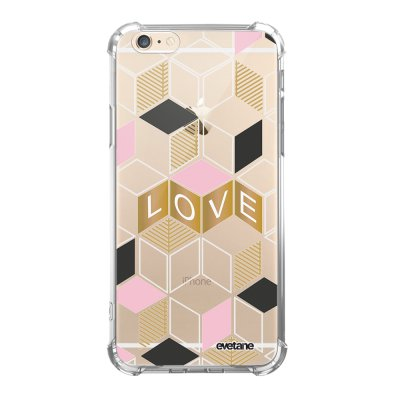 Coque iPhone 6/6S anti-choc souple angles renforcés transparente Cubes love Evetane.