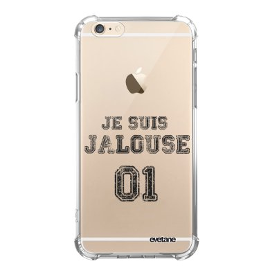 Coque iPhone 6/6S anti-choc souple angles renforcés transparente Jalouse 01 Evetane.
