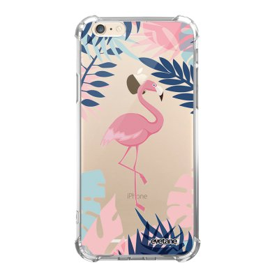 Coque iPhone 6/6S anti-choc souple angles renforcés transparente Flamant Tropical Evetane.